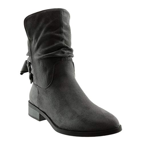 Shoes Boots Braided Booty Fancy Angkorly Node 3 Soft Fashion Grey Women's Knot Ankle Heel cm Boots Chic Block wx8xqEYvX