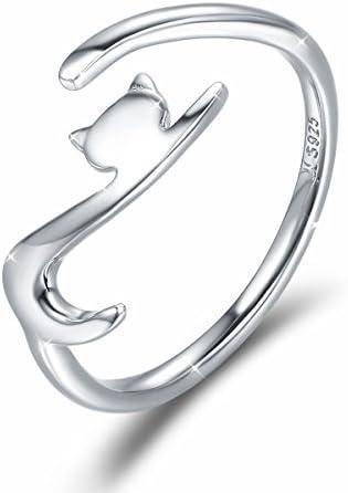 Gato Anillo Mujeres Ajustable de Plata de Ley Compromiso anillo ...