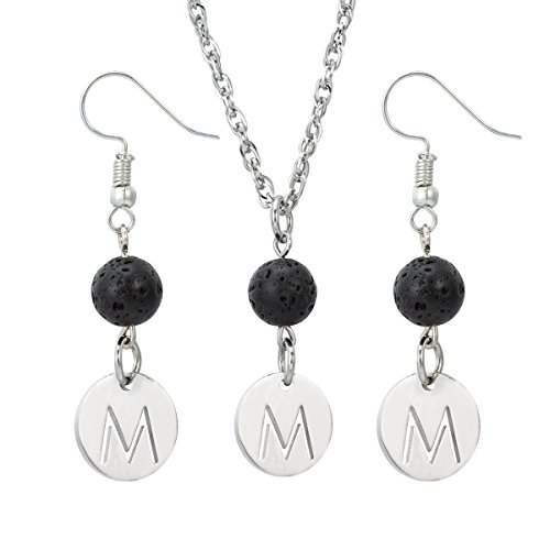 Lava-rock Stone Initial Pendant alphabet Lava Earrings for Essential Oil Diffuser Necklace and Earrings Set,M