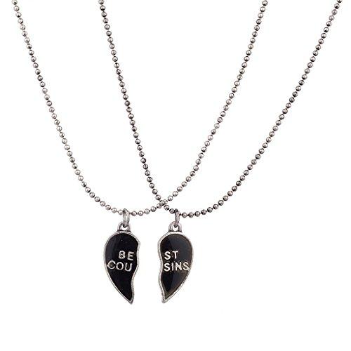 Lux Accessories Burnish Silver Best Cousins Mood Detachable Heart Necklace Set (2 Pc)