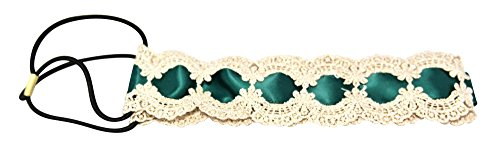 Chicky Chicky Bling Bling Satin Ribbon and Shimmering Boho Lace Headband Womens Emerald