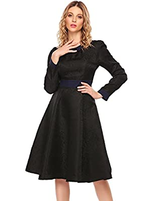 ACEVOG Women's Vintage Long Sleeve Swing Cocktail Party Dress
