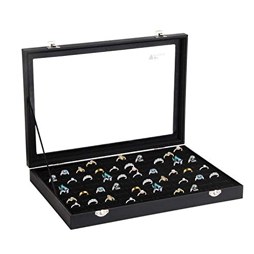 (amzdeal Ring Case Ring Box 100 Slots Ring Organizer Ring Holder Jewelry Display Storage Box Tray, Ideal Gift for Women and Men, Black)