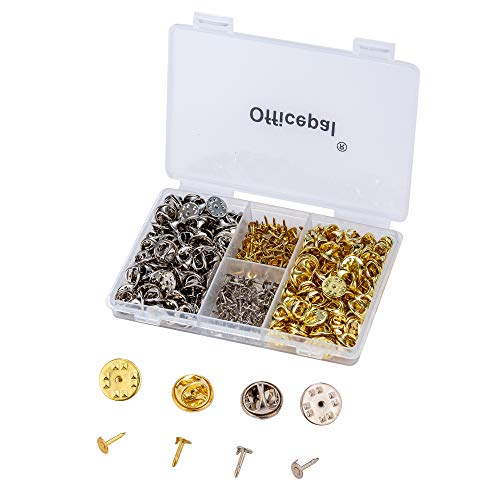 Officepal Butterfly Clutch Pin Backs & Tie Tacks - 70 Silver & 70 Gold Blank Metal Replacement Lapel Fastener Clasps with Pins - 280pc Lot DIY Accessories Set