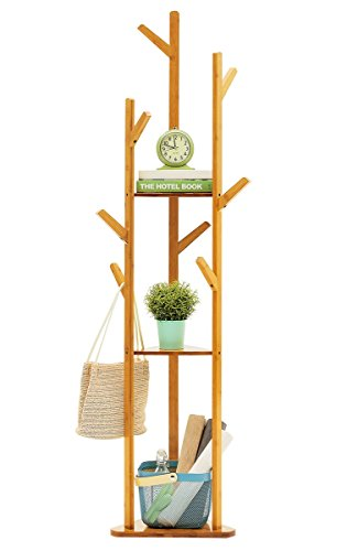 - COPREE Bamboo Tree Garment Clothes Coat Hat Umbrella Portable Hanger Stand Rack with 3-Tier Storage Shelves and Hooks