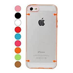 Two Colors Transparent Plastic Case and TPU Frame for iPhone 5/5S , Orange