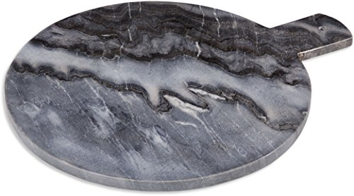 Home Essentials Marble With Handle 15 Inches x 12 Inches x 0.50 Inch Round Chopping Bar Cutting Boards Grey
