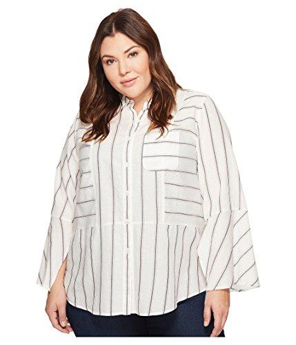 のれん摘むアルミニウムトゥーバイビンスカムート トップス シャツ Plus Size Bell Sleeve Yarn-Dye Stripe Co New Ivory [並行輸入品]