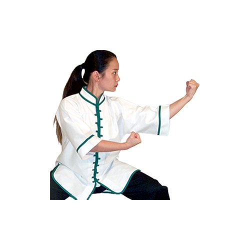 Tiger Claw Interloop Kung Fu Top B00DXYNBEM White with Green Trim Size 6 (6'0\