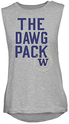 NCAA Rocker Women's Sleeveless Drop Tail Tank, Athletic Heather, Large, Washington Huskies