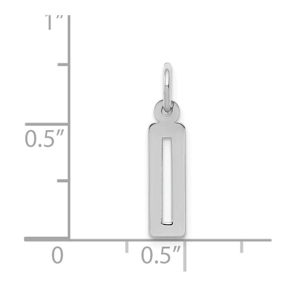 Bonyak Jewelry Sterling Silver Rhodium-Plated Small Elongated Polished Number 0 Charm