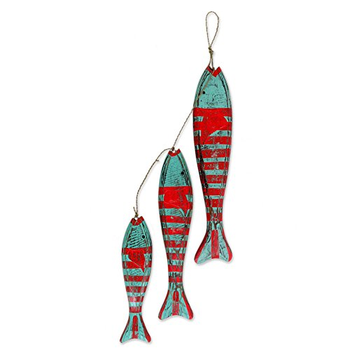NOVICA Animal Themed Hand Carved Albesia Wood Hanging Fish Home Accent with Agel Grass Cord, Green and Red, 'Fish'