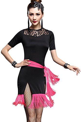 ZX Women's Dancewear Lace Neck Short Sleeve Fringed