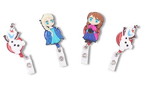 Finex Frozen Princess Elsa Anna Olaf Set of 4 Retractable Badge Holder ID Badge Reel Clip On Card - Moana Ana