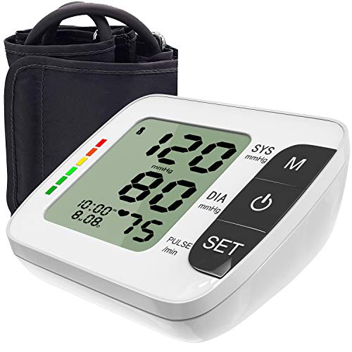 Hong S Blood Pressure Monitor Updated Upper Arm Fully Automatic Accurate Clinical Blood Pressure & Pulse Rate Monitor with 120 Reading Memory for 2 User, 8.6-14.2 Cuff Size