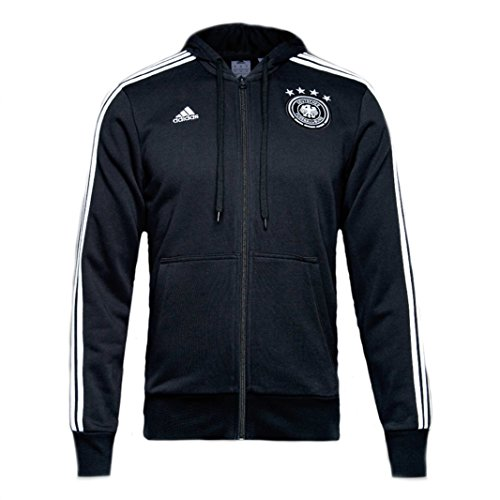 adidas Mens Germany 3 Stripes Full Zip Hoodie (Black/White) (XS) (Stripes 3 Full Zip)