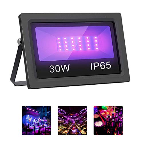 UV Black Light, Mrhua Outdoor High Power 30W Ultra Violet LED Flood Light, IP65-Waterproof for Blacklight Party,DJ Disco Night Clubs, Fluorescent Paint, Neon Glow, Glow in The Dark, Body Paint