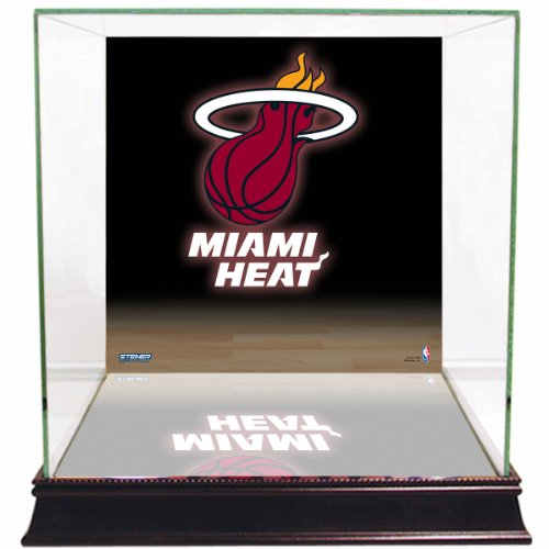 Heat Glass Miami - NBA Miami Heat Glass Basketball Display Case with Team Logo Background