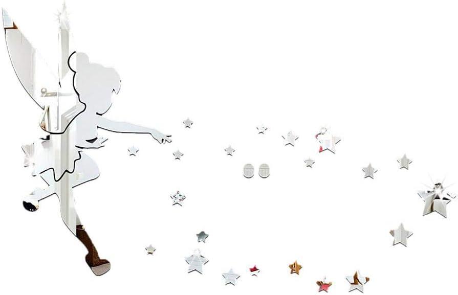 Efecto De Espejo Pegatinas De Pared Dormitorio Acr/ílico 3D Pegatinas De Pared Hada Que Sopla Patr/ón De Estrella Espejo Pegatinas De Pared TV Pared Cristal Decoraci/ón