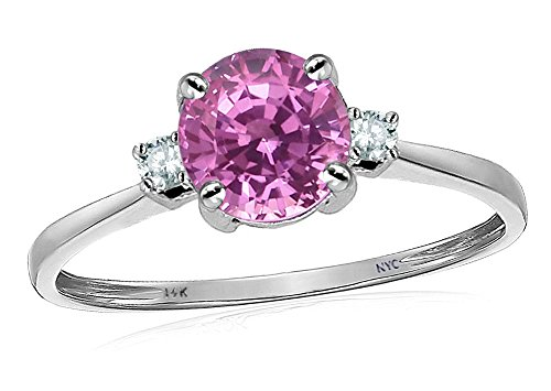 (Star K 7mm Round Created Pink Sapphire Classic 3 stone Engagement Ring 14 kt White Gold Size 6)