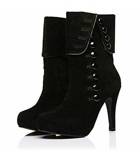 Daim Bottes Femmes Wuiwuiyu Haut En Chaussures Noir À Talon E0ExqFw