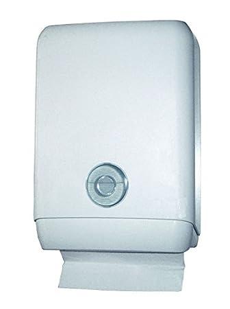Plegable dispensador de toallas de papel plástico blanco sobre el que toalla de mano papel dispensador para todos los papel toalla de formatos: Amazon.es: ...