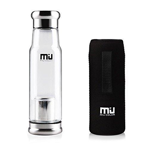2 opinioni per Miu Color® elegante portatile 550ml flacone in vetro borraccia Borsa in nylon