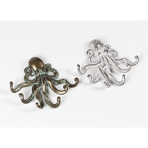 Benzara Octopus Theme Wall Hooks 2 Asstored 8″W, 7″H