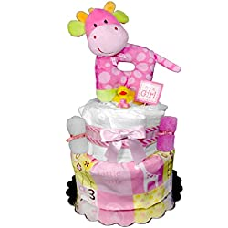 Giraffe Diaper Cake - Baby Shower Gift - Girl Centerpiece - Pink
