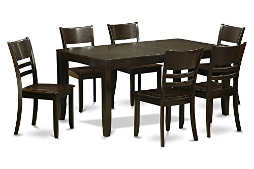Cappuccino Finish Dining Table - East West Furniture LYFD7-CAP-W 7-Piece Dining Table Set, Cappuccino Finish