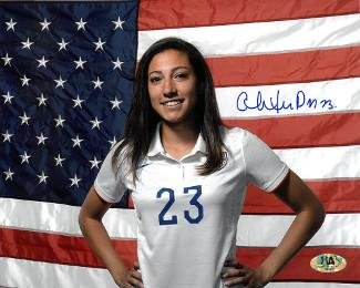 c1a3a54393c Signed Christen Press Photograph - 8x10 horizontal flag)(USA Womens) -  Autographed Soccer