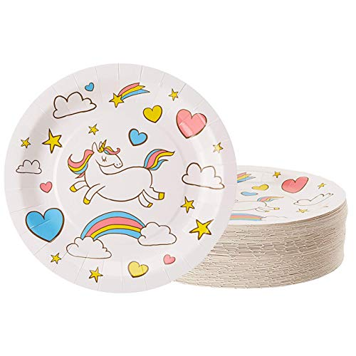 Unicorn Plates - 80-Pack Disposable 9-Inch Round Plates for Cake, Appetizer, Lunch, Dessert, Unicorn Themed Birthday, Baby Shower Party Supplies, Rainbow Unicorn Design for $<!--$15.99-->