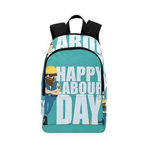 Inscription Helmet - Worker Man Yellow Construction Helmet Inscription Casual Daypack Travel Bag College School Backpack for Mens and Women