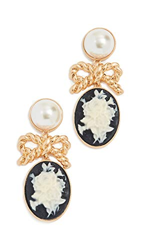 Gold Cameo Earrings - For Love & Lemons Women's Imitation Pearl Cameo Earrings, Ghost, Black, Gold, One Size