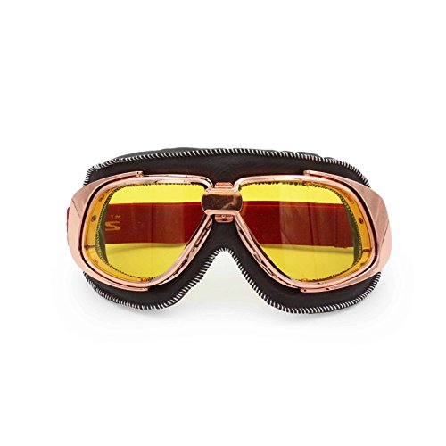 Vintage Motorcycle Goggles - Adjustable Strap Aviator Pilot Scooter Cruiser Glasses - Rose Gold Frame - Black Padding (Amber - Rose Eyewear Amber