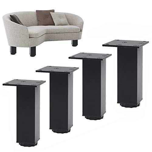 4 Piezas Patas para Muebles de Metal, Patas de Mesa de Altura Ajustable de 0-15 cm, Pies para muebles Patas de Muebles Aleacion de Aluminio para Armarios Mesa Cama Sofa Gabinete