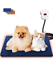 Mompet Pet Heating Pad, 3 Pcs Removable Covers, Waterproof Indoor Heated Pet Bed Pad, Electric Heating Pad for Dogs, Cats and Rabbits, Chew Resistant Steel Cord, 40x30cm
