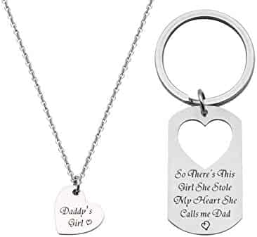 d5ce6a3eb BRBAM Father Daughter Necklace and Keychain Set-So There's This Girl She  Stole My Heart