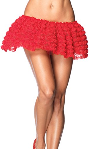 Leg Avenue Pearl Rosette Petticoat Skirt, One Size, Red