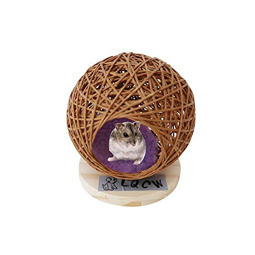 Hamster Houses and Hideouts, Natural Rattan Pet Hiding Hut Nest, Mouse Hideaway for Guninea Pigs, Small Animals Nest Hut Habitats Decor with Wood Base for Guninea Pigs Gerbils - Hamster Wood Hut