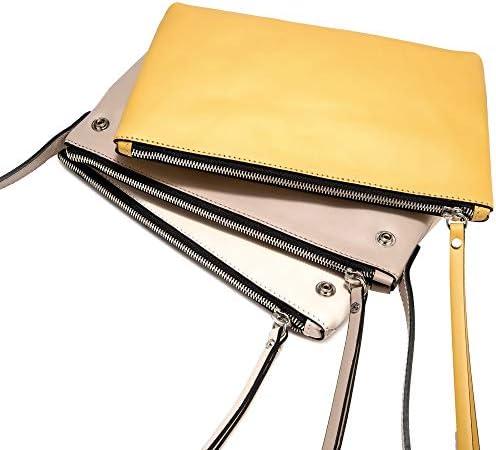Gianni CHIARINI Tracollina da donna in pelle di colore giallo, nudo e beige, tracolla, tre scomparti e tasca con chiusura con zip interna. BS 7700 BIOSABORSE