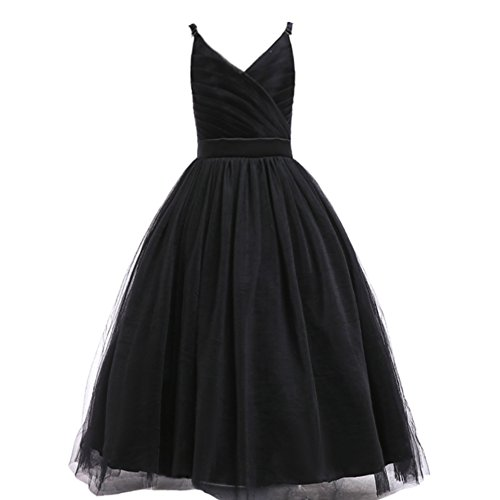 Glamulice Girls Lace Bridesmaid Dress Long A Line Wedding Pageant Dresses Tulle Spaghetti Strap Party Gown Age 3-16Y (15-16Y, V-Black)