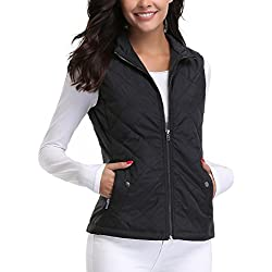 MISS MOLY Vest for Women Lightweight Zip up Sleeveless Stand Collar Warm Quilted Gilets Padded Coat Jacket