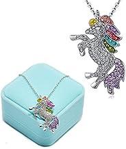 Fashion Unicorn Pendant Necklace - Rainbow Crystal Unicorn Necklace for Girls - Unicorn Rainbow Necklace