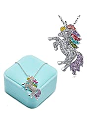 Fashion Unicorn Pendant Necklace - Rainbow Crystal Unicorn Necklace for Girls - Unicorn Rainbow Necklace