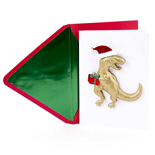Hallmark Signature Christmas Card for Kid (Dinosaur with Santa Hat) Christmas Card Kids