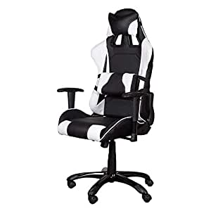 Gumi 09854 Gaming Chair - High Back Pc Gaming Chair With Caster Wheels, Thick Padding, Nylon Base - Adjustable Gaming Chair - Black/White - 50 X 45 X 138cm