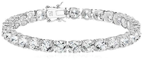 Amazon Essentials Sterling Silver Round Cut Cubic Zirconia Tennis Bracelet (6mm), 7.25