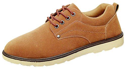 Summerwhisper Hombres Trendy Faux Suede Llanura Punta Redonda Low Top Casual Pisos Con Cordones Oxfords Zapatos Brown