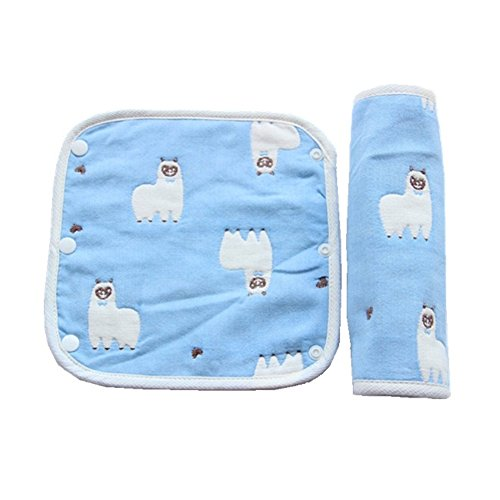 Baby Bibs Bandana Drool Bib for Drooling & Teething, Dribble Chew, Baby Infant Car Seats Cover, Baby Decorations Gifts for Baby Boy & Girl, 100% Cotton (Teething Pads Blue Alpaca)
